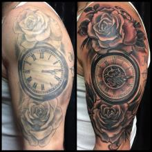Before and after tattoo by Kevin Riley