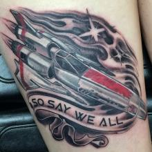 Battlestar Galactica tattoo by Kevin Riley at Studio One Tattoo Norwood PA Philadelphia