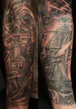 Ship and Castle tattoo by Kevin Riley at Studio One Tattoo Norwood PA Philadelphia