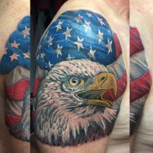 Usa flag and eagle tattoo by kevin Riley at Studio One Norwood pa Philadelphia
